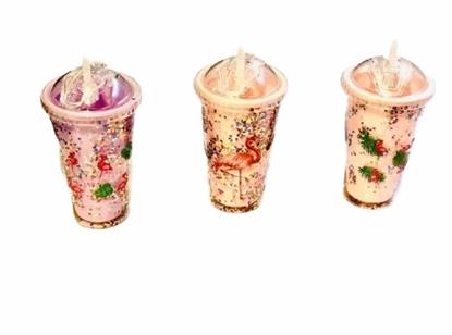 Imagen de Vaso largo con glitter flamengos cierre hermetico/48