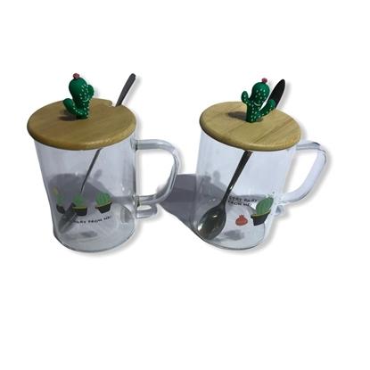 Imagen de Taza de vidrio con cuchara cactus /60
