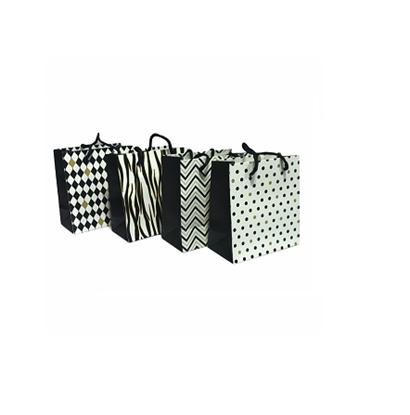 Imagen de Bolsa de regalo blanco/negro/oro  15x14cm