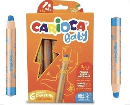 Imagen de Color carioca 3 en 1 lápiz cera y acuarela baby x 6