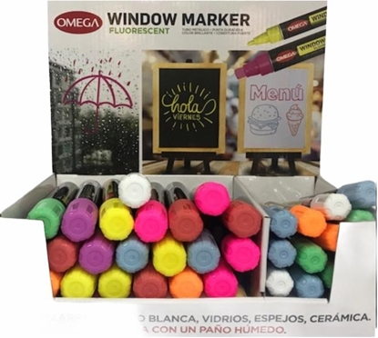 Imagen de Marcador omega para vidrio exhibidor 40 unidades