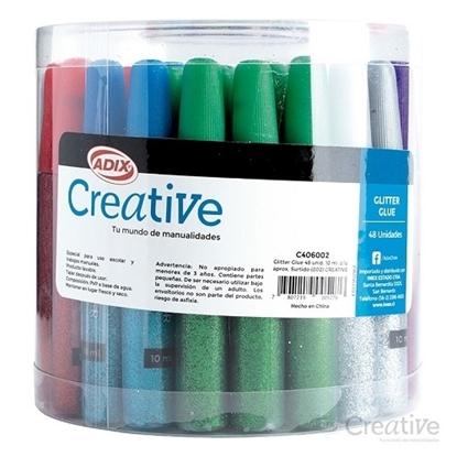 Imagen de Glitter glue creative 48 unidades surtido de 10 ml