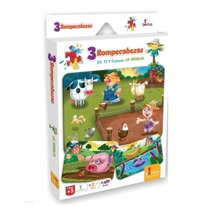Imagen de Bontus 3 puzles + hojas p/colorear - la granja