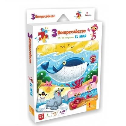Imagen de Bontus 3 puzles + hojas p/colorear - el mar