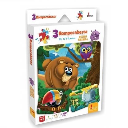 Imagen de Bontus 3 puzles + hojas p/colorear - reino animal
