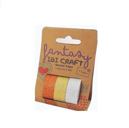 Imagen de Cinta adhesiva ibi craft pack x 3 tonos brillantina