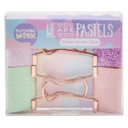 Imagen de Doble clip brillante pastel mooving caja x 4 unidades